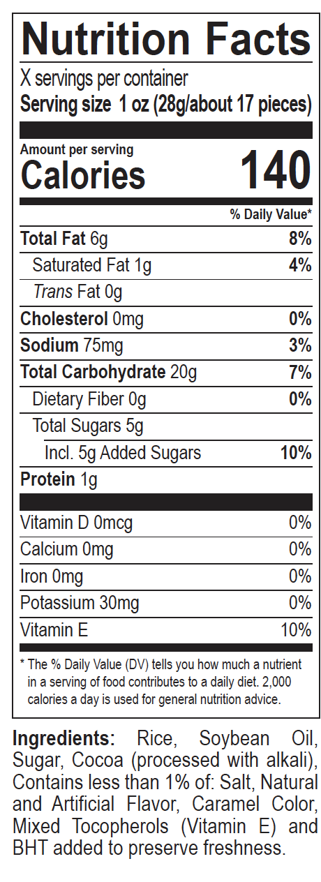 Cocoa Pebbles Crisps Nutrition Label