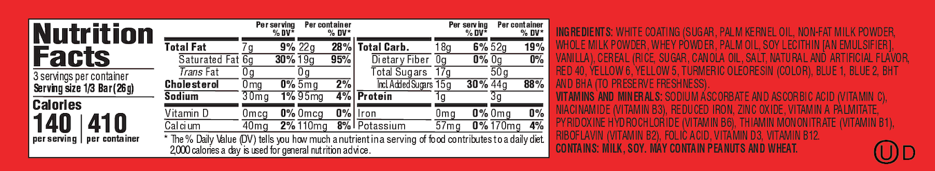 Fruity PEBBLES™ Candy Bar Nutrition Label
