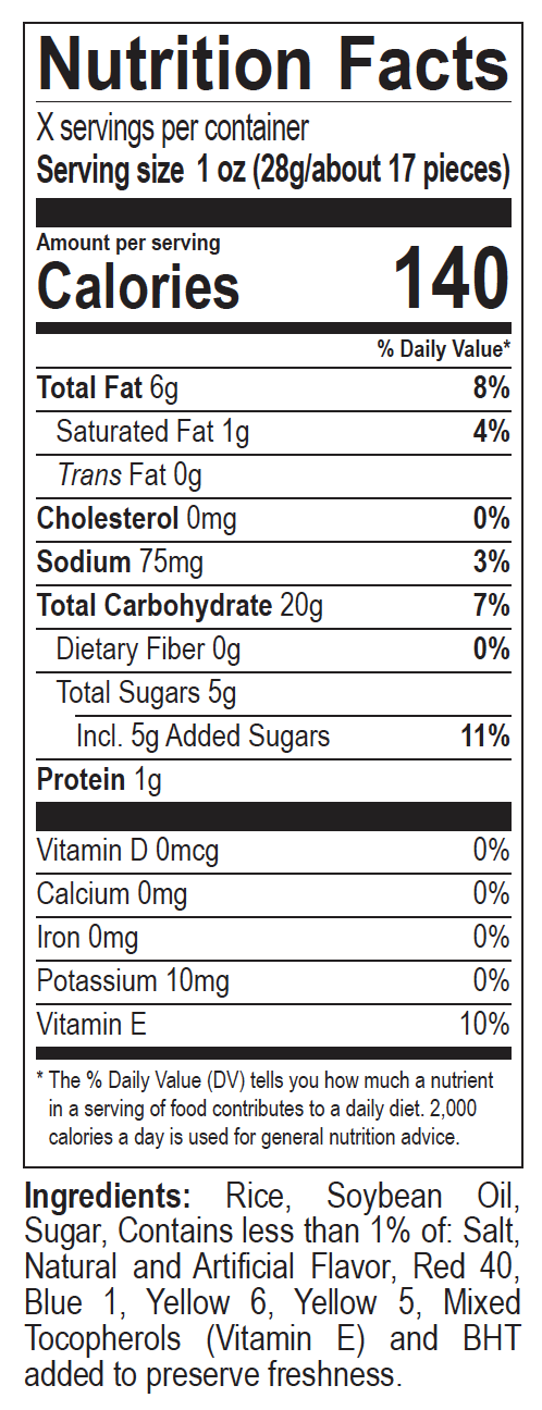 Fruity Pebbles Crisps Nutrition Label