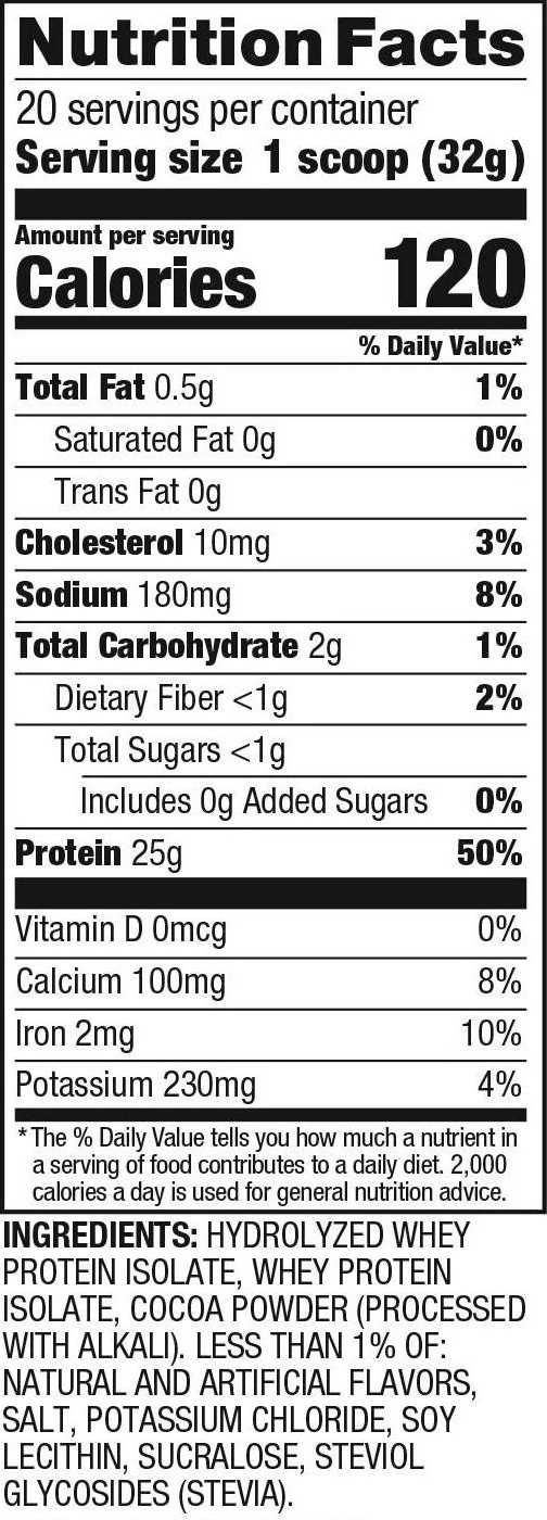 Dymatize® ISO100® Cocoa Pebbles Protein Nutrition Facts